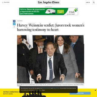 Harvey Weinstein verdict- Jurors took women's harrowing testimony to heart - Los Angeles Times