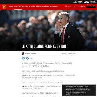 Le XI titulaire pour Everton - Manchester United - Site Officiel