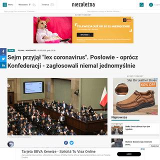 ArchiveBay.com - niezalezna.pl/313907-sejm-przyjal-lex-coronavirus-poslowie-oprocz-konfederacji-zaglosowali-niemal-jednomyslnie - Sejm przyjął -lex coronavirus-. Posłowie - oprócz Konfederacji - zagłosowali niemal jednomyślnie - Niezależna