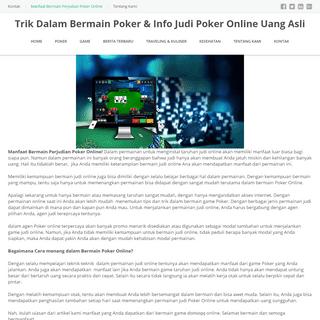 Trik Dalam Bermain Poker & Info Judi Poker Online Uang Asli