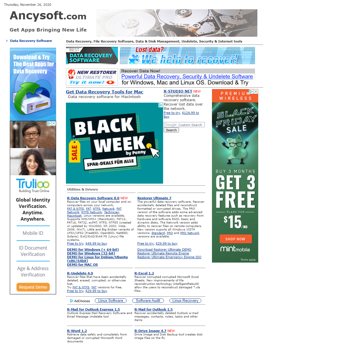 Ancysoft Software. Data Recovery, Data Backup, Security, Internet