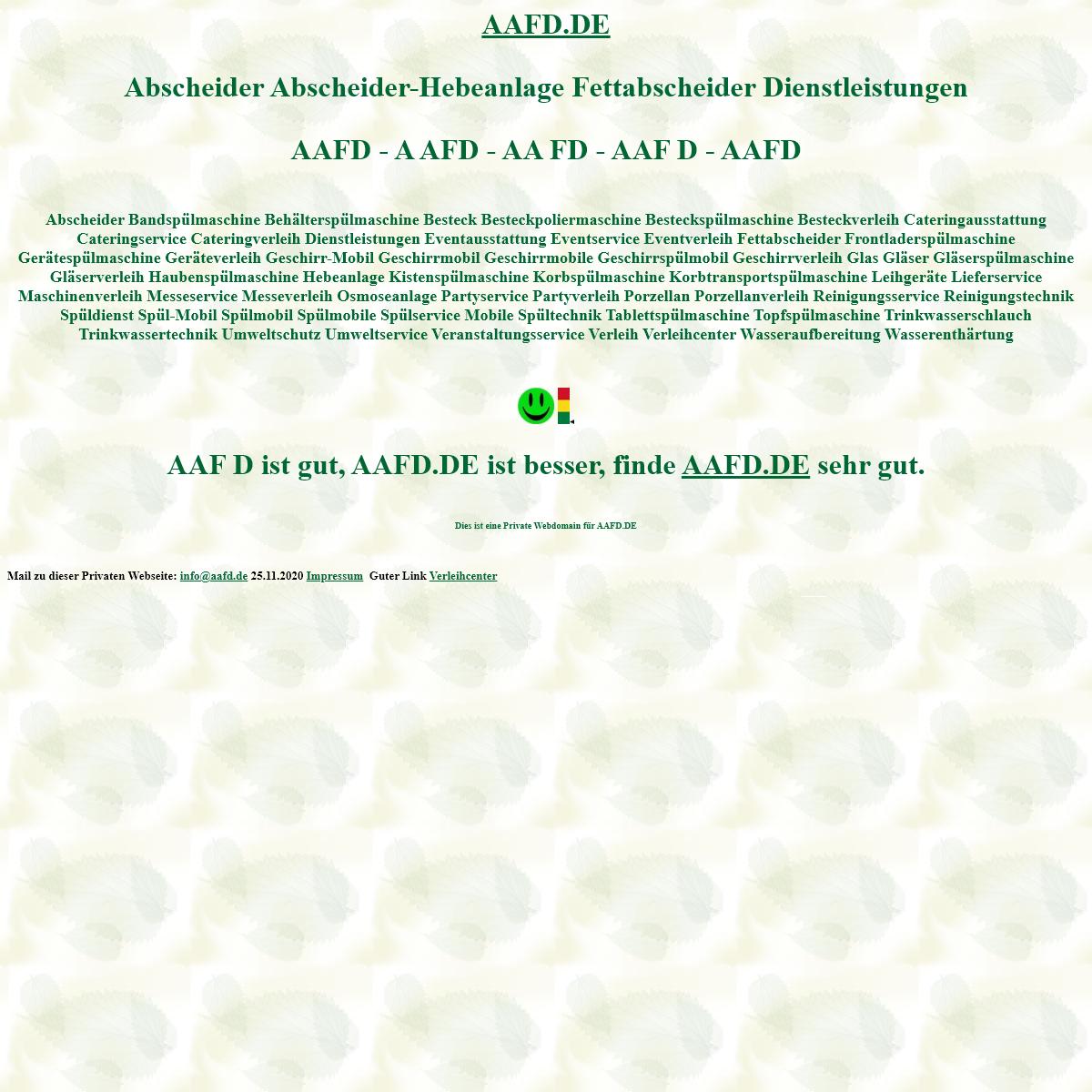 aafd Abscheider Abscheider-Hebeanlage Fettabscheider Dienstleistungen Spülmobil Verleih Geschirrmobil Mieten