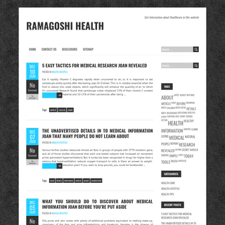 Ramagoshi Health – Get information about Healthcare in this website