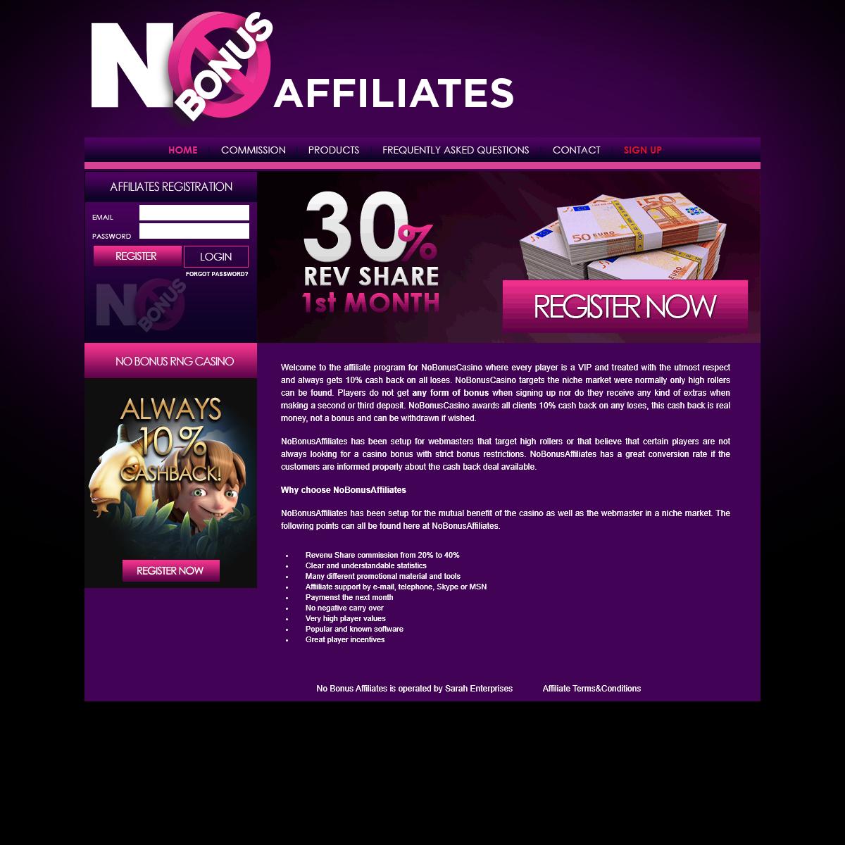 No Bonus Affiliates - No Bonus Casino Affiliate Program