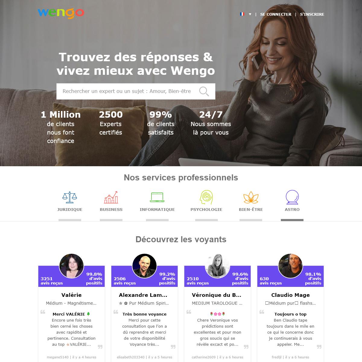 Wengo, le conseil de Professionnels en ligne par téléphone et email