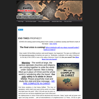 End Times Prophecy - Bible Studies and News for 2020