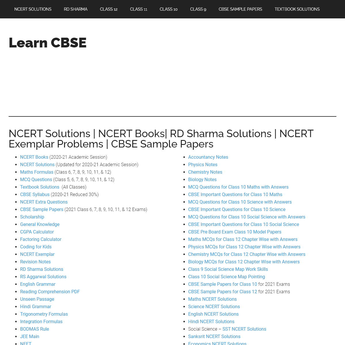 NCERT Solutions - RD Sharma Solutions - NCERT Exemplar Problems - CBSE Sample Papers