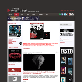 Sonic Seducer Magazin- Szene-News, Rezensionen, Tourdates & Termine Electro, Gothic, EBM, Industrial, Alternative, Mittelalter