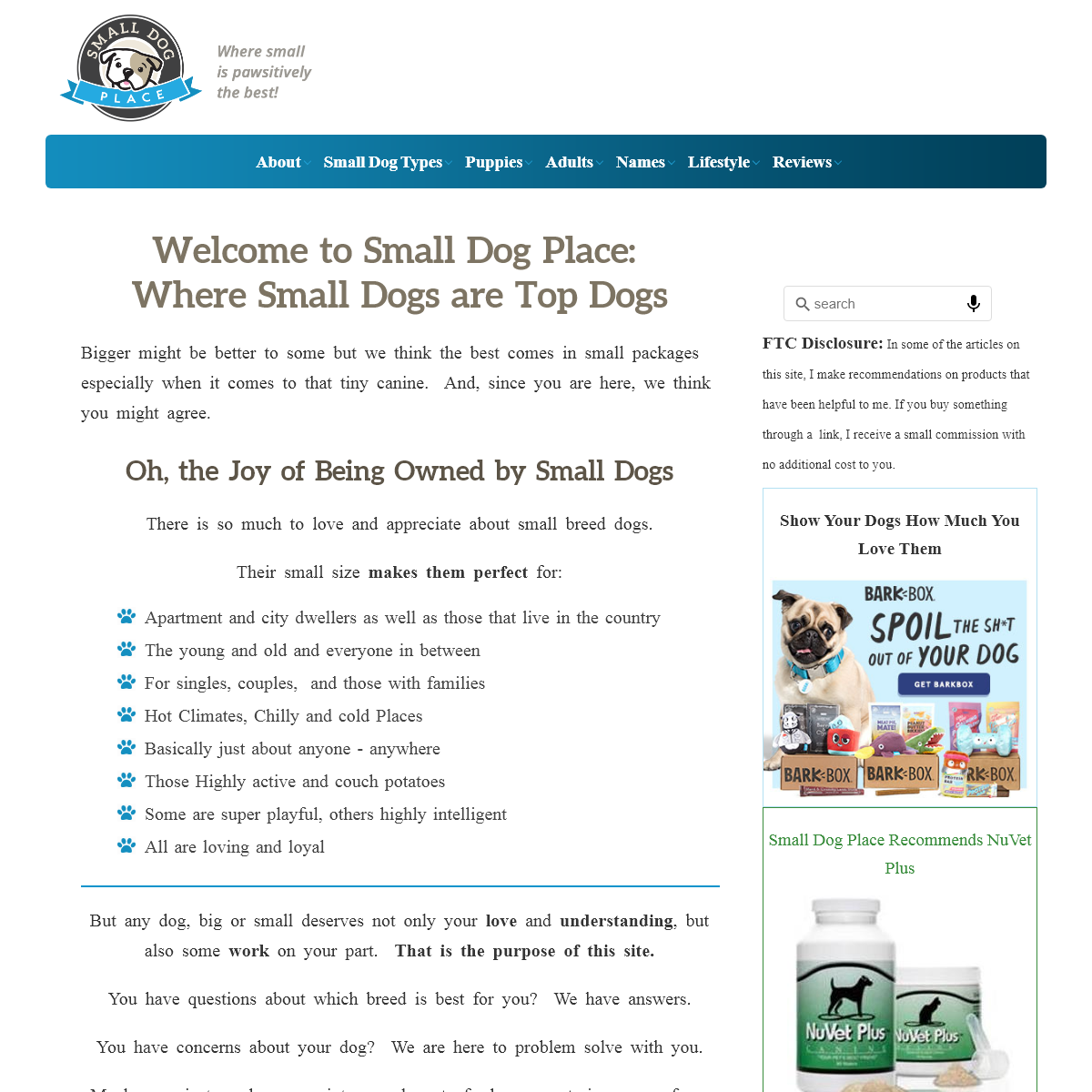 Small Dog Place- The Ultimate Resource About Small Dogs