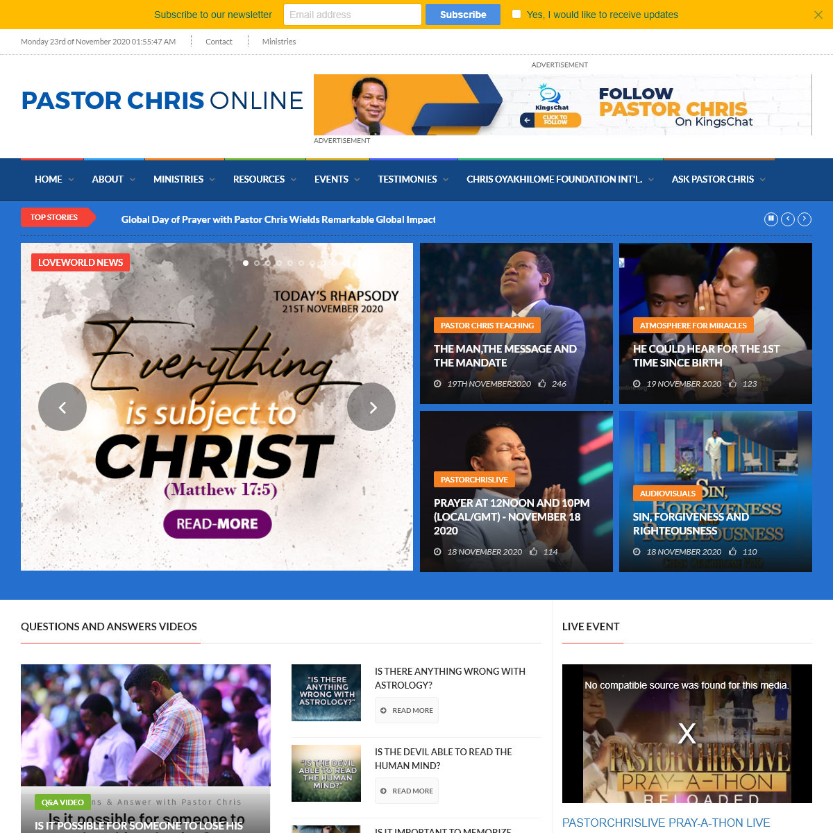 What`s New on Pastor Chris Online