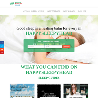 Happysleepyhead.com - Unbiased mattress reviews-ratings and other sleep information
