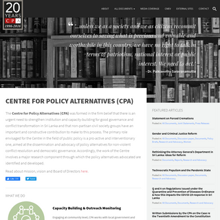 Centre for Policy Alternatives – Advocacy and Research
