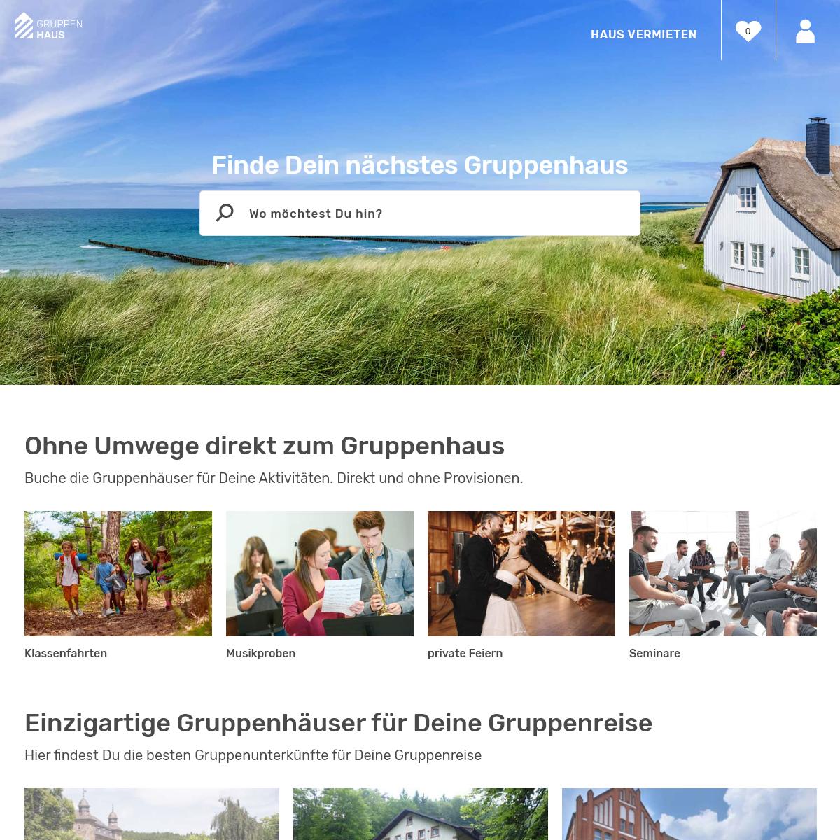 gruppenhaus.de - Die größte Auswahl an Gruppenunterkünften