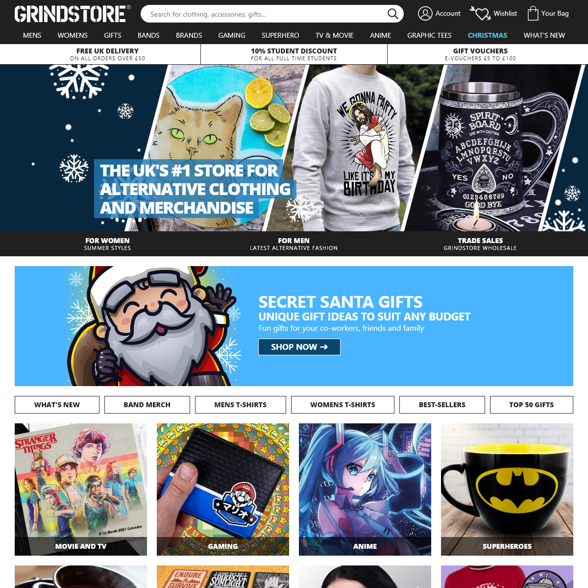 Grindstore- Alternative Clothing and Merchandise UK Store - Bands, Movies, Gaming, Anime and Superhero Clothing, Gifts and Acces