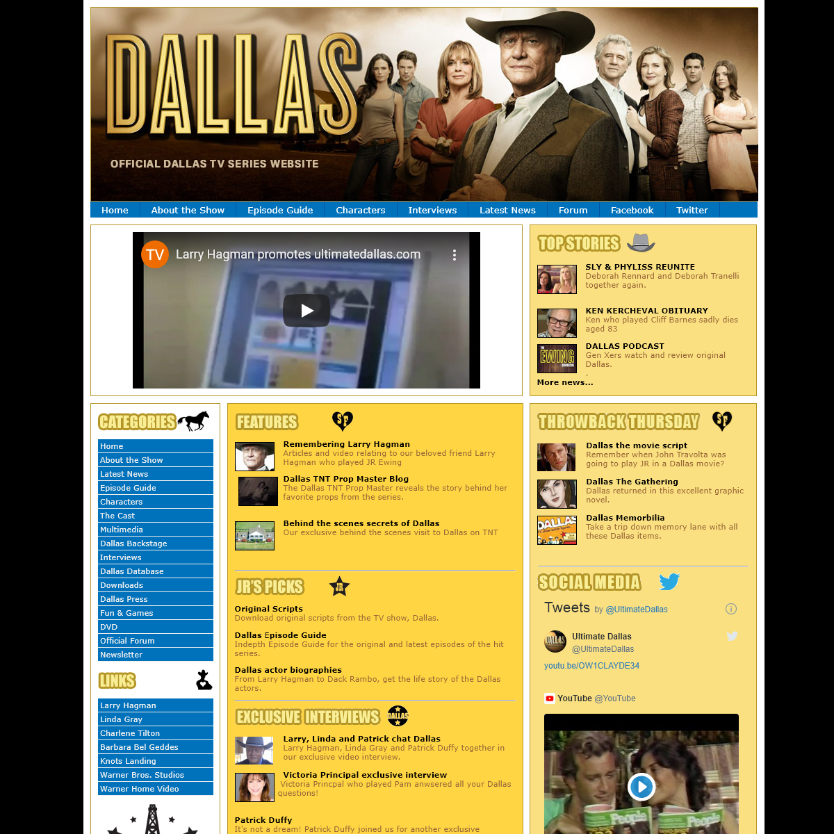 The Official Dallas website for the hit warner brothers television show with Larry Hagman as JR Ewing