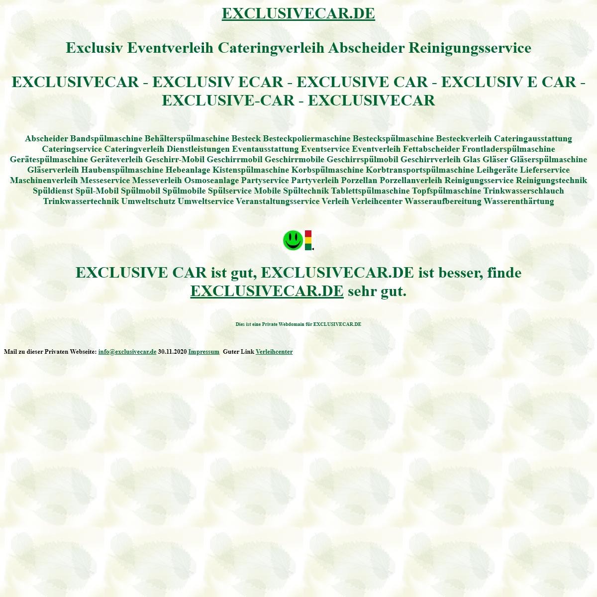 exclusivecar Exclusiv Eventverleih Cateringverleih Abscheider Reinigungsservice Spülmobil Verleih Geschirrmobil Mieten