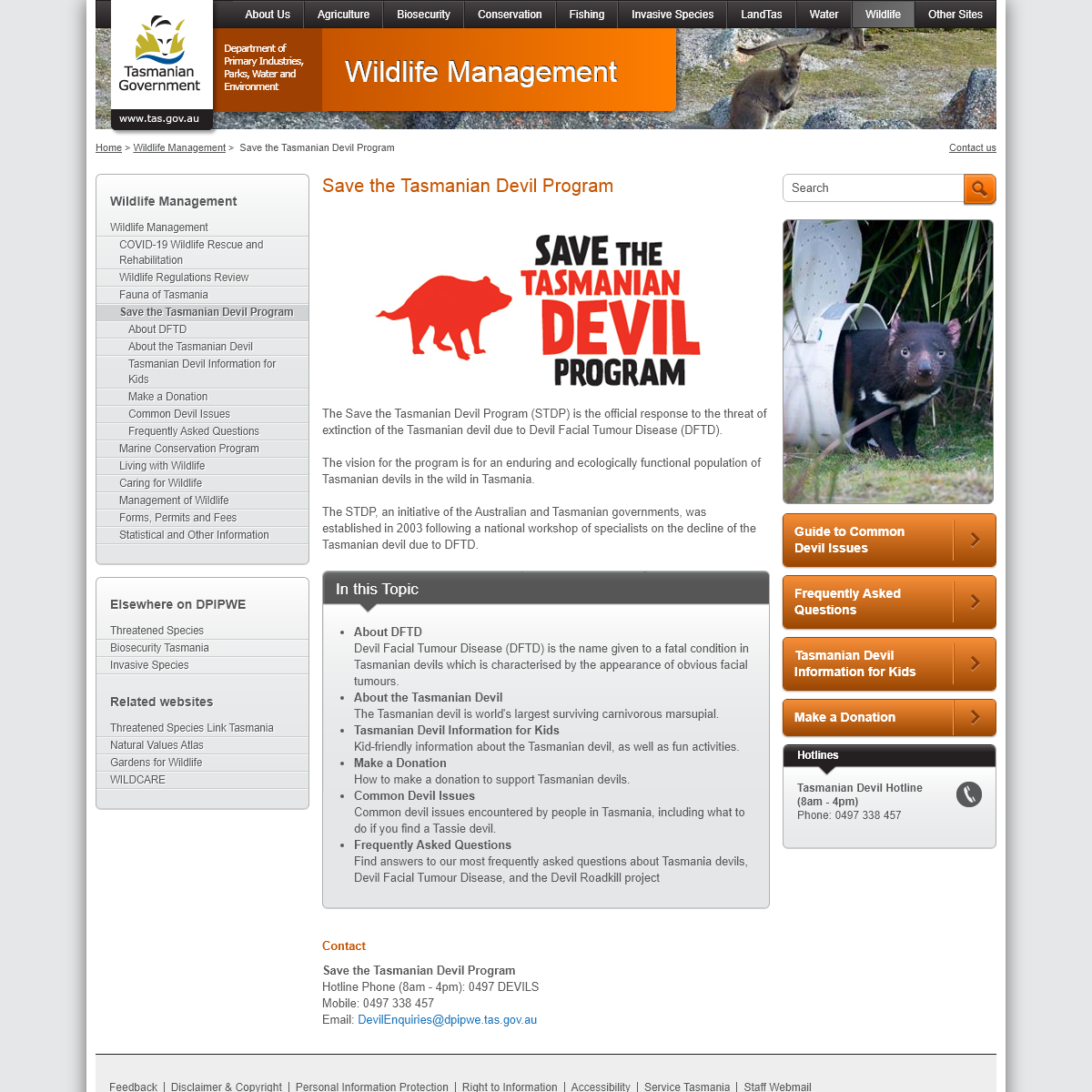 Save the Tasmanian Devil Program - Department of Primary Industries, Parks, Water and Environment, Tasmania