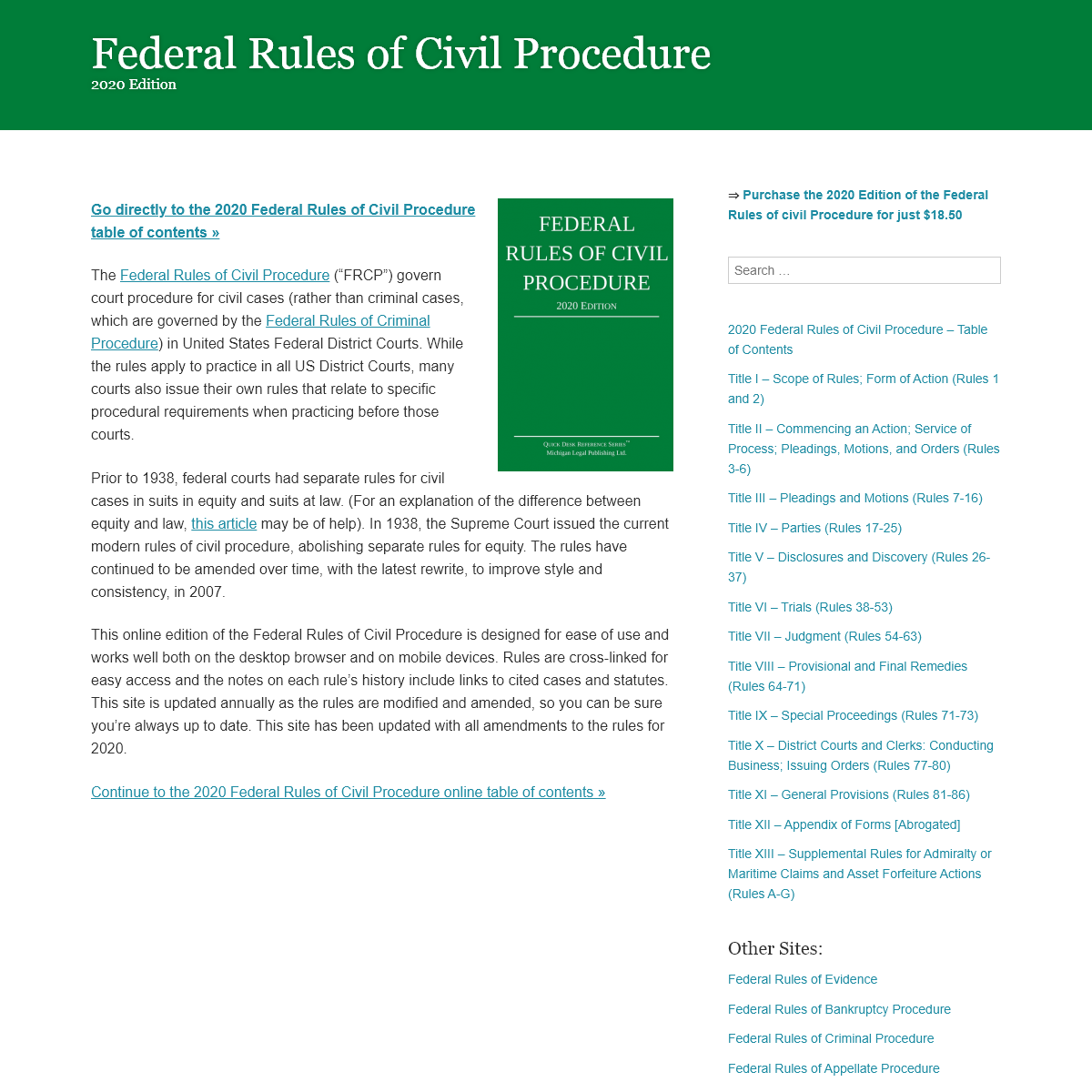 Federal Rules of Civil Procedure - 2020 Official Edition
