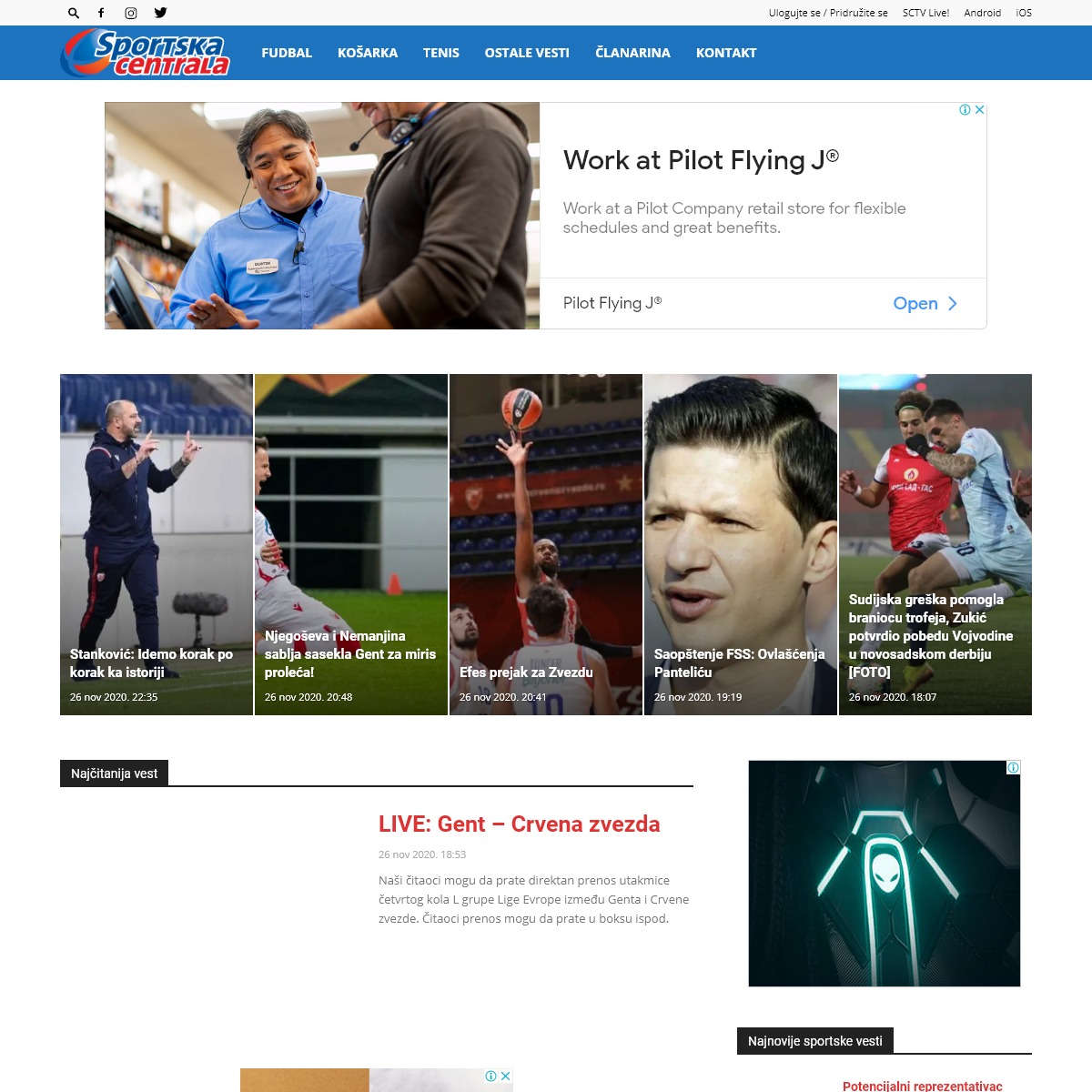Sportska centrala - Najnovije sportske vesti- ⚽ Fudbal, 🏀 košarka, 🎾 tenis, Crvena zvezda, Partizan, reprezentacija