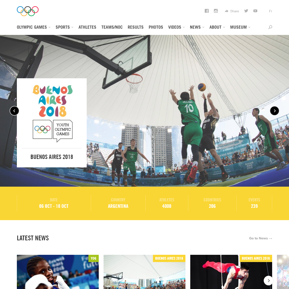 Buenos Aires 2018 Youth Olympic Games (YOG)