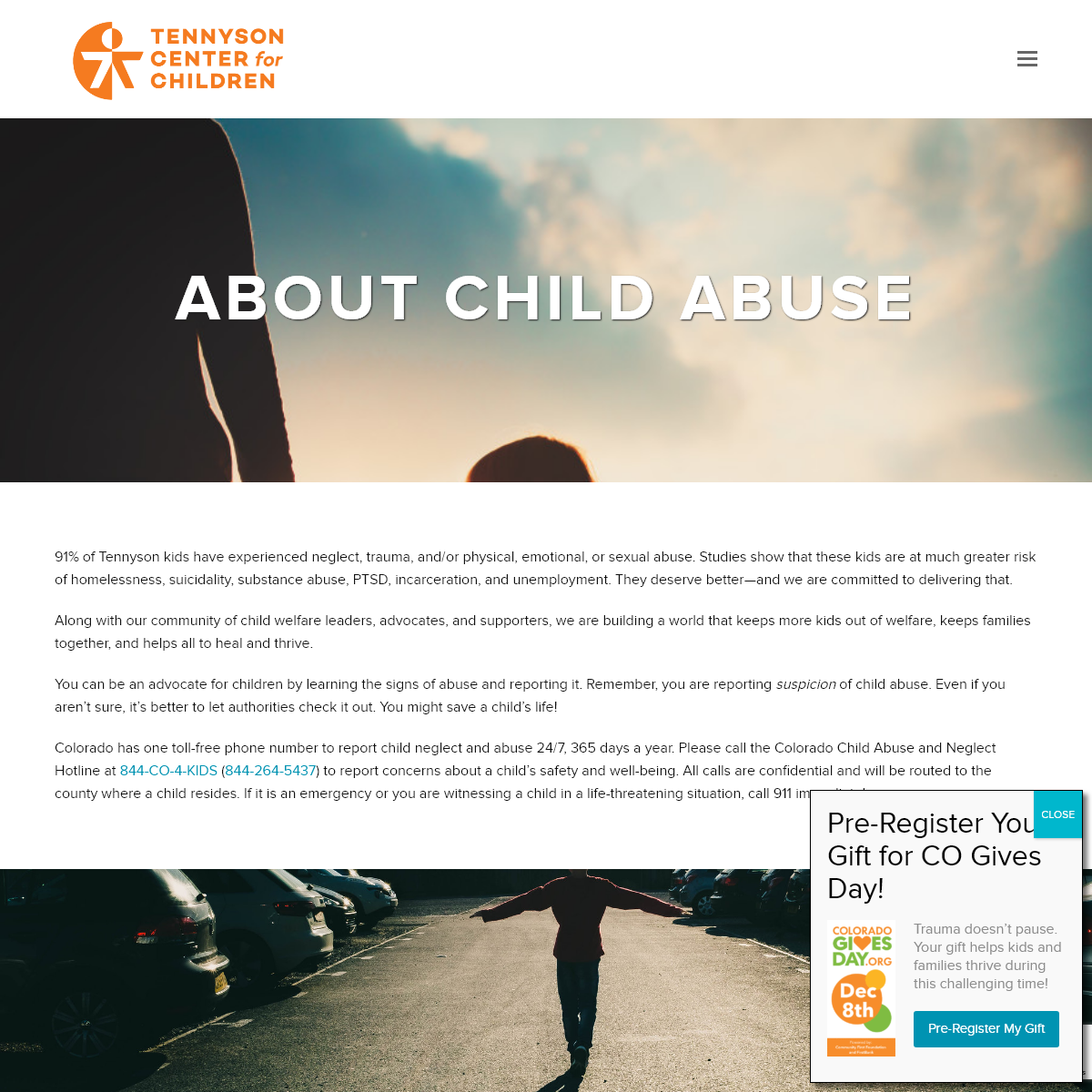 About Child Abuse -- Tennyson Center for Children