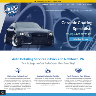 Auto Detail Services in Bucks County - Newtown PA - All Pro Detail