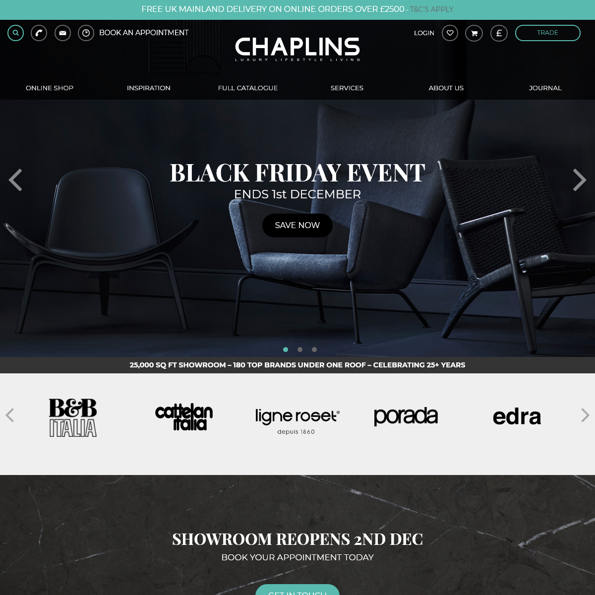 Chaplins- The Home of Modern Designer Furniture & Contemporary Living