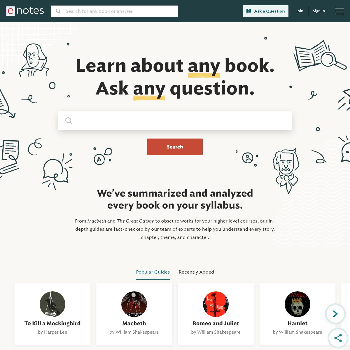 Study Guides, Lesson Plans, Homework Help, Answers & More - eNotes.com