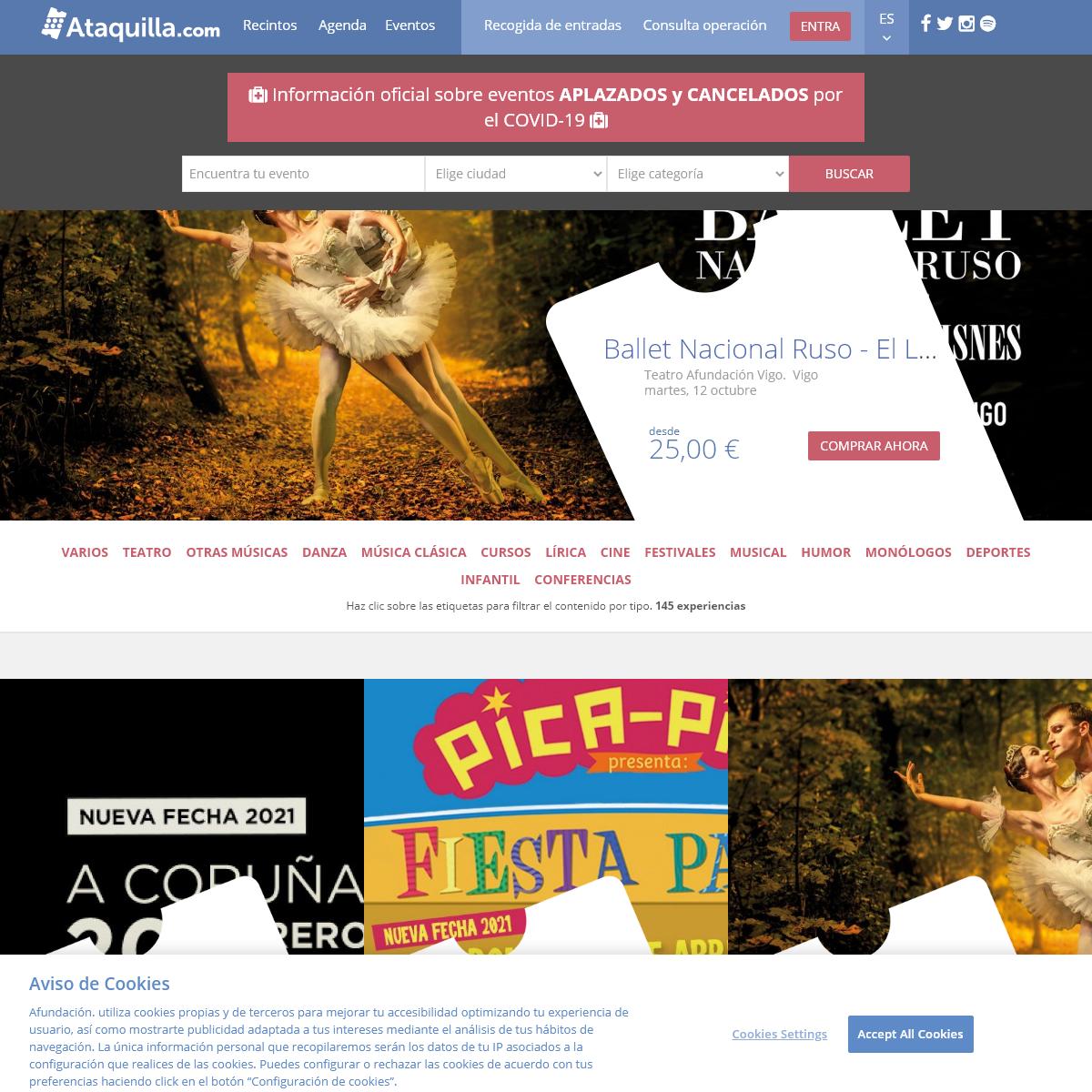 Entradas para teatro, musicales, conciertos... - compra entradas - Ataquilla.com