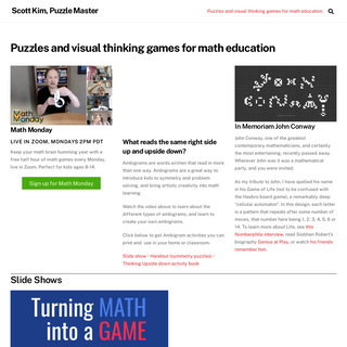 Puzzles and visual thinking games for math education - Scott Kim, Puzzle Master