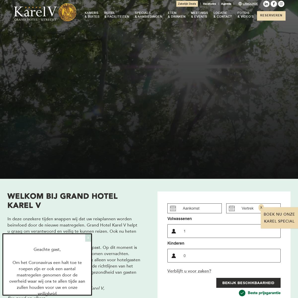Grand Hotel Karel V Utrecht - Officiële Website - Laagste Prijsgarantie