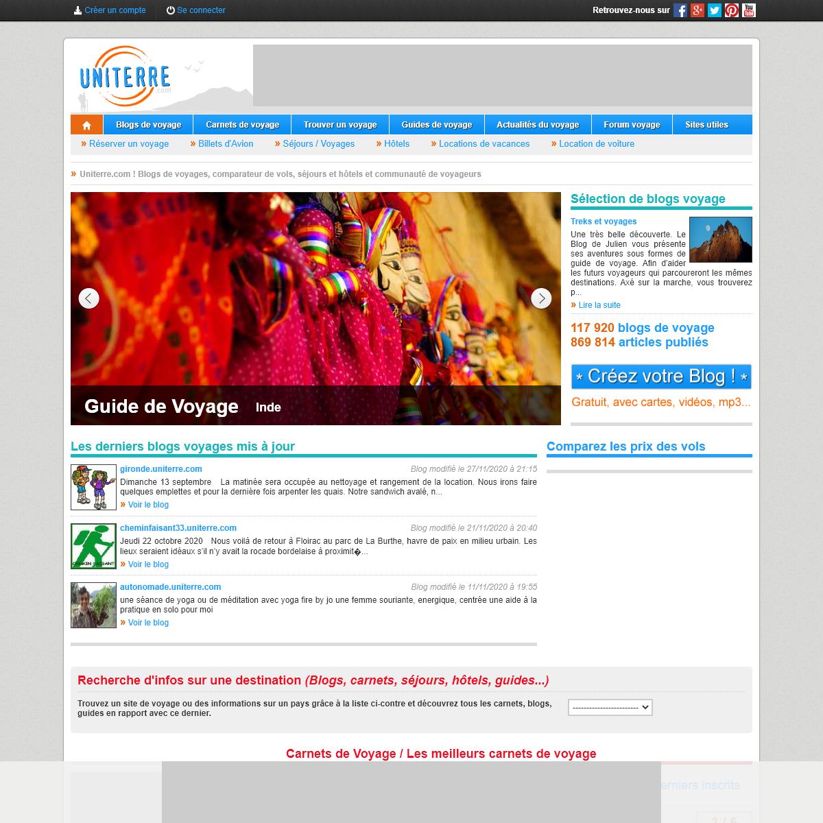 Uniterre.com - Comparer les voyages, blogs, bons plans, communauté