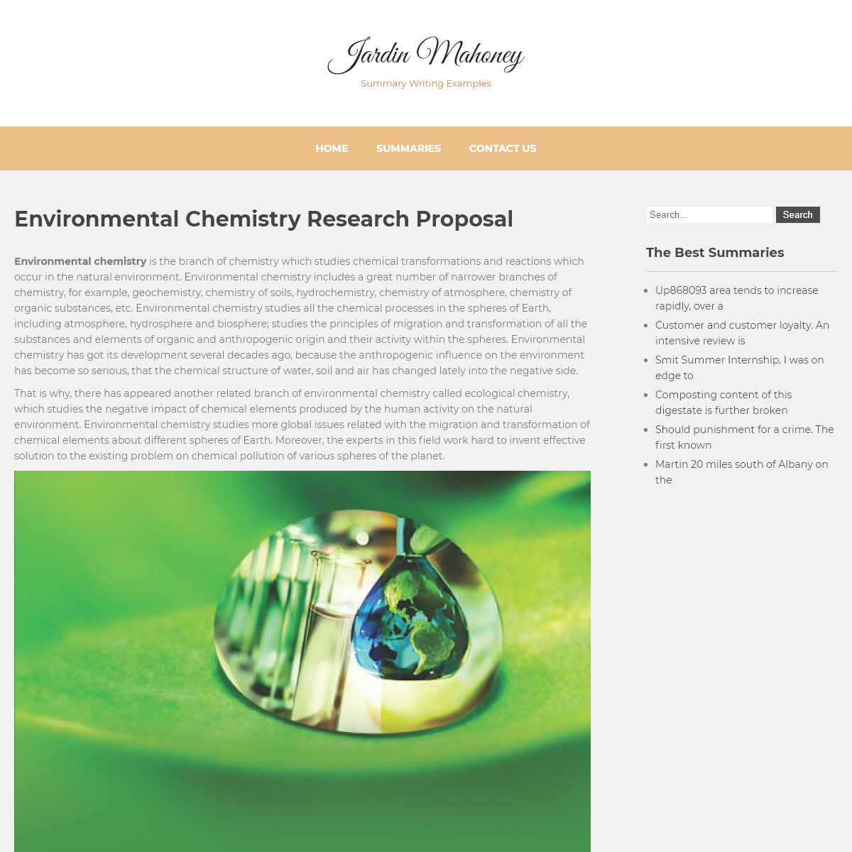 Environmental Chemistry Research Proposal - Jardin Mahoney