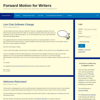 Forward Motion for Writers – A free writer community for writers wanting to learn, pay forward, and get their writing groove o