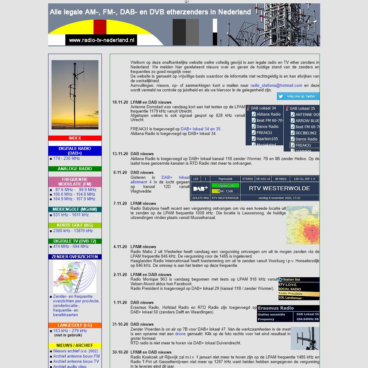 Radio stations in Nederland, overzicht van alle legale zenders in Nederland
