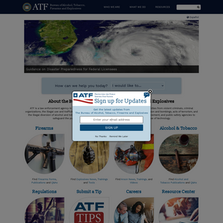 ATF Home Page - Bureau of Alcohol, Tobacco, Firearms and Explosives