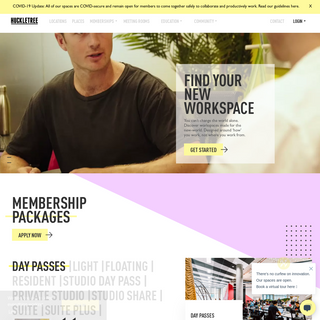 Workspaces, Community, Acceleration - Huckletree