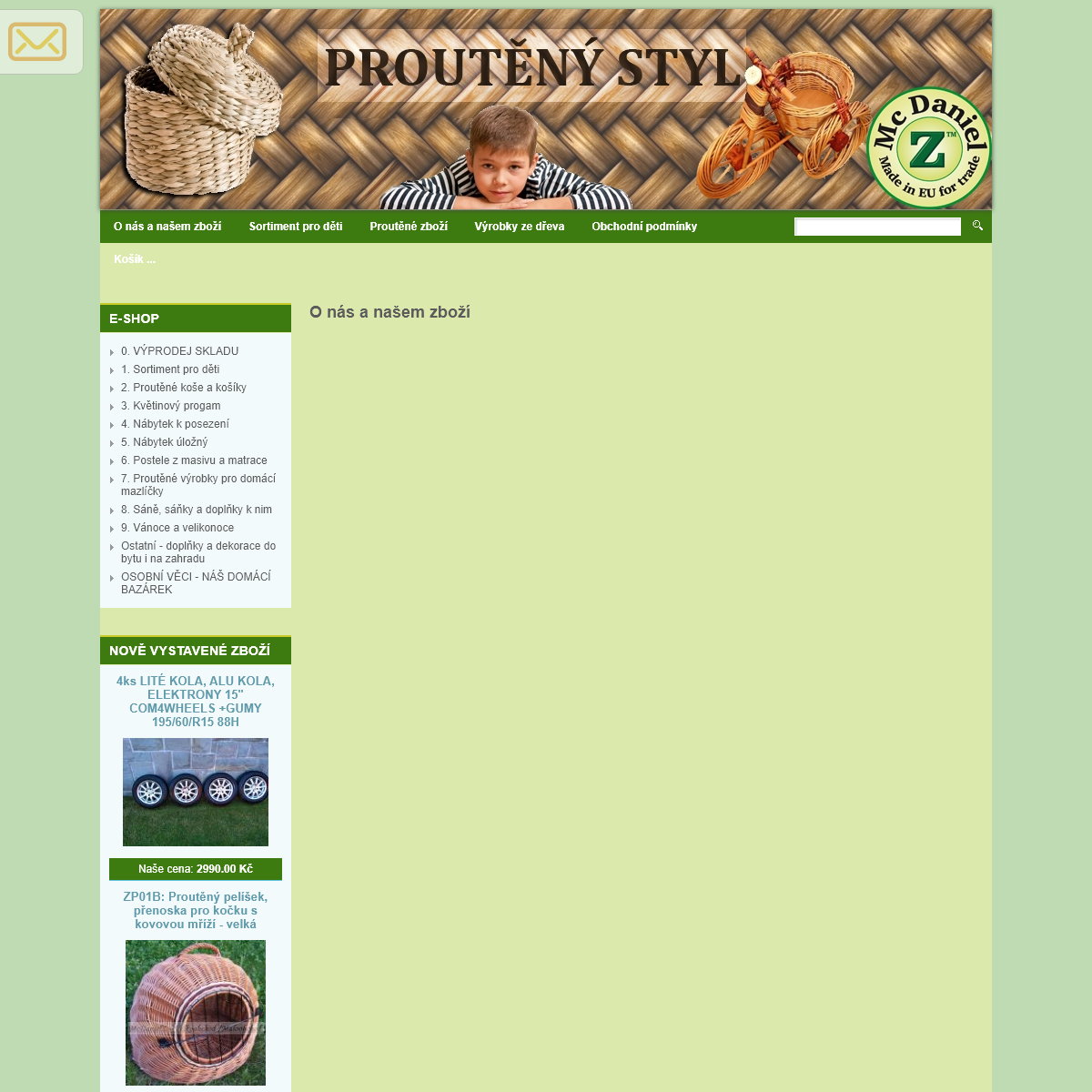 McDanielZ - Sortiment pro děti, Výrobky ze dřeva, Proutěné zboží - Velkoobchod a maloobchod- zboží pro děti, proutěn�