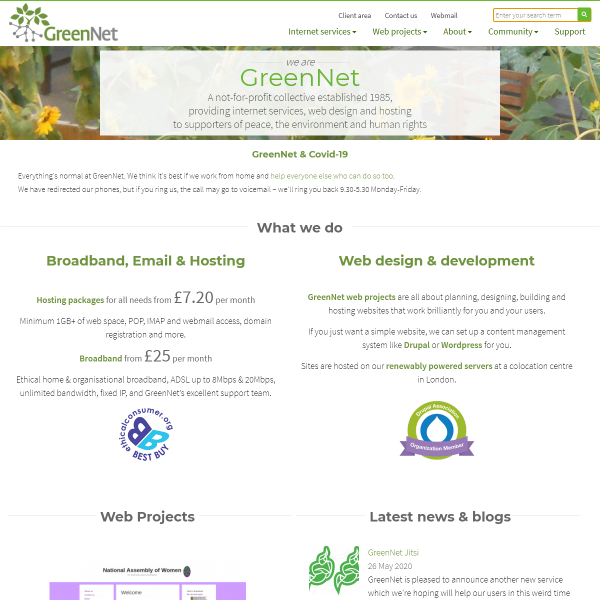 GreenNet - Internet services, web design and hosting for activists