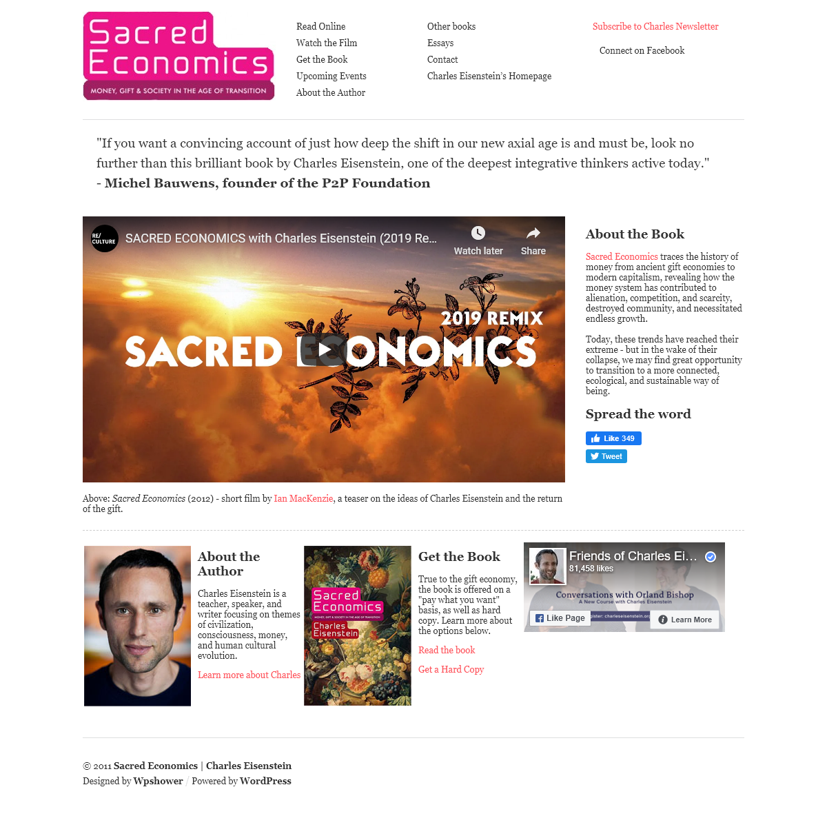 Homepage - Sacred Economics - Charles EisensteinSacred Economics - Charles Eisenstein - Money, Gift and Society in the Age of Tr
