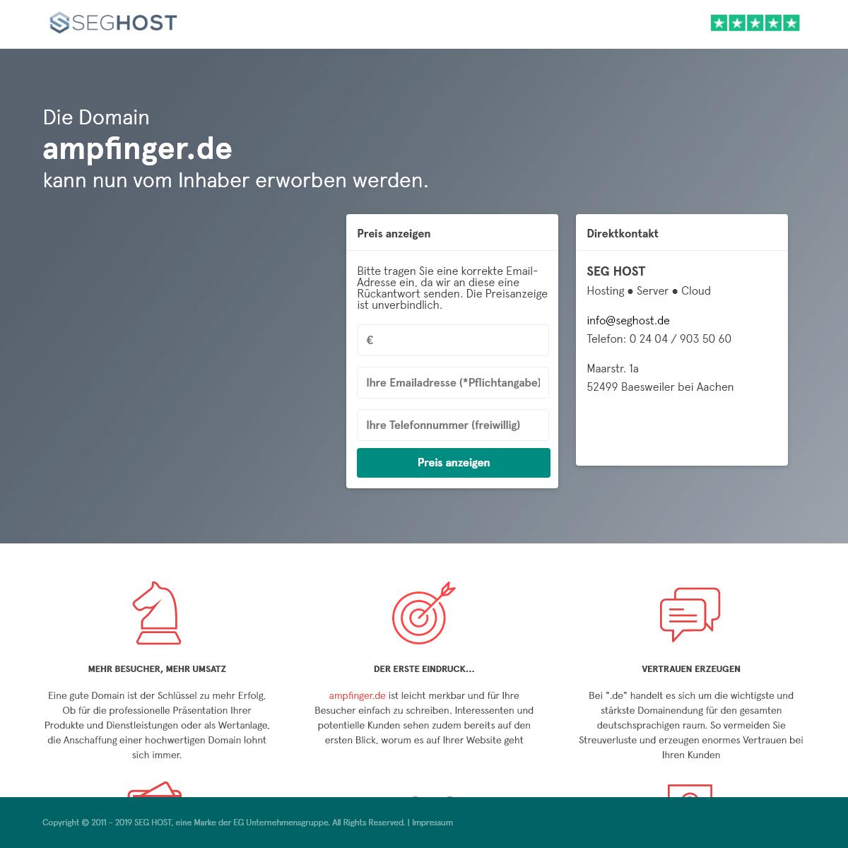 Die Domain ampfinger.de kann nun vom Inhaber erworben werden.