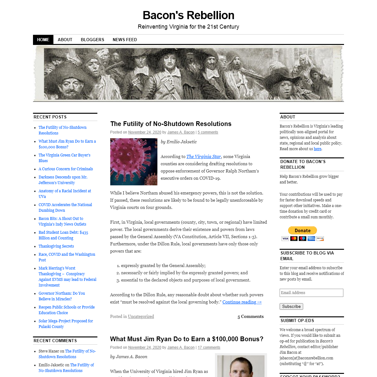 Bacon`s Rebellion - Reinventing Virginia for the 21st Century