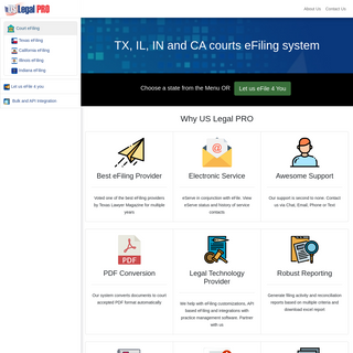 TX, IL, IN and CA courts eFiling system