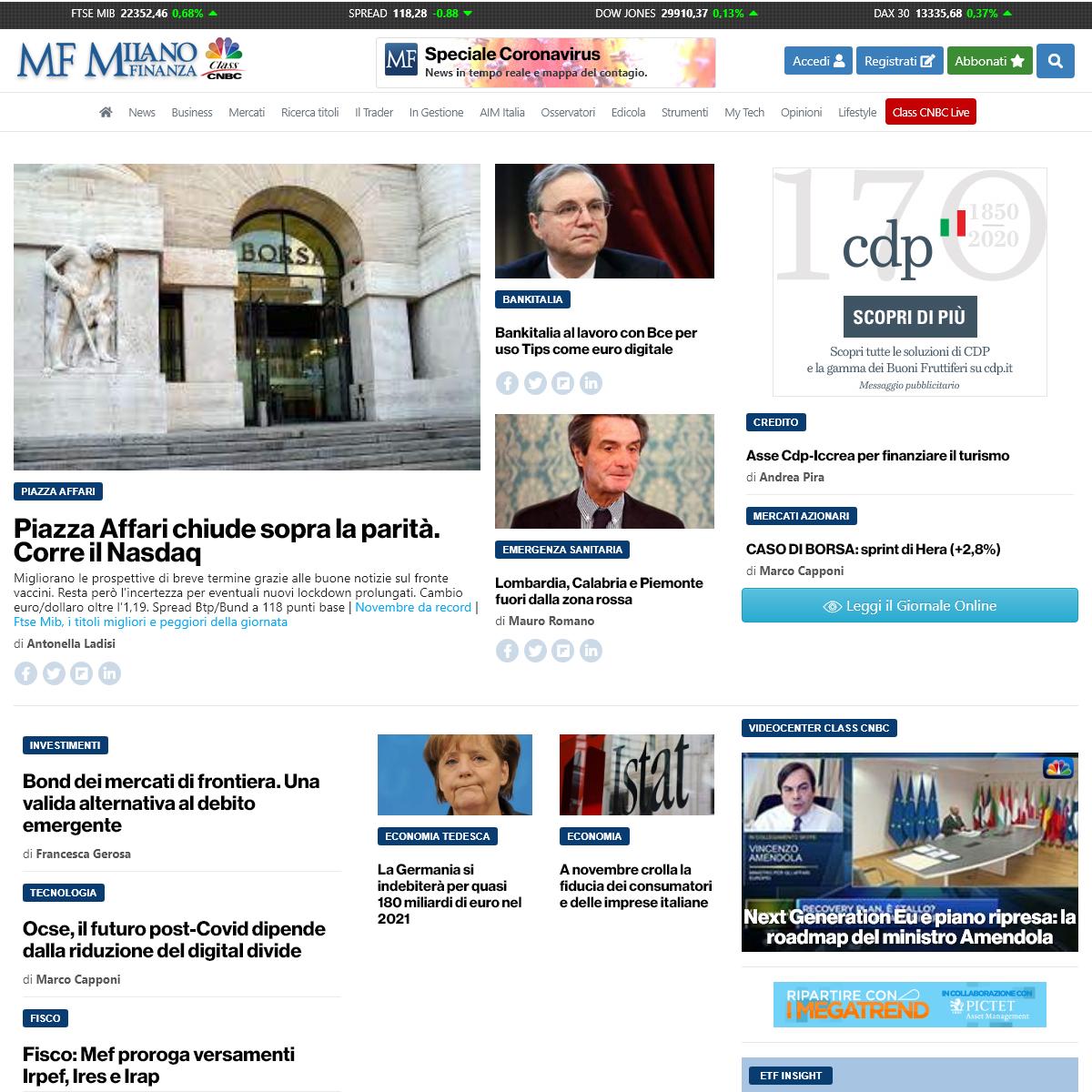 Milano Finanza - news di economia, finanza, fisco e borsa in tempo reale