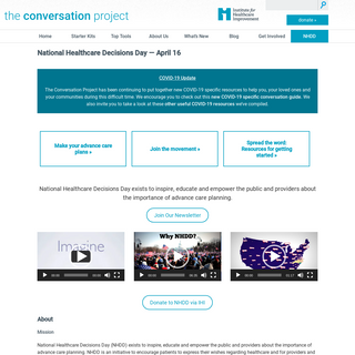 The Conversation Project - National Healthcare Decisions Day — April 16