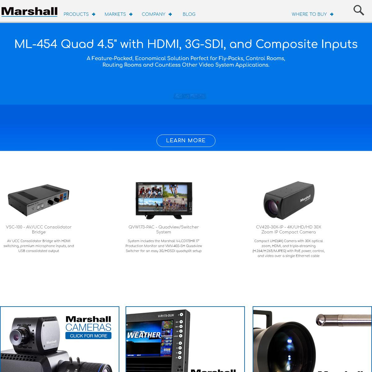 Marshall Electronics - Professional Broadcast Miniature-Compact-Indoor 4K-UHD-HD Cameras, 4K Rack Mount-Desktop Monitors, Hardwa