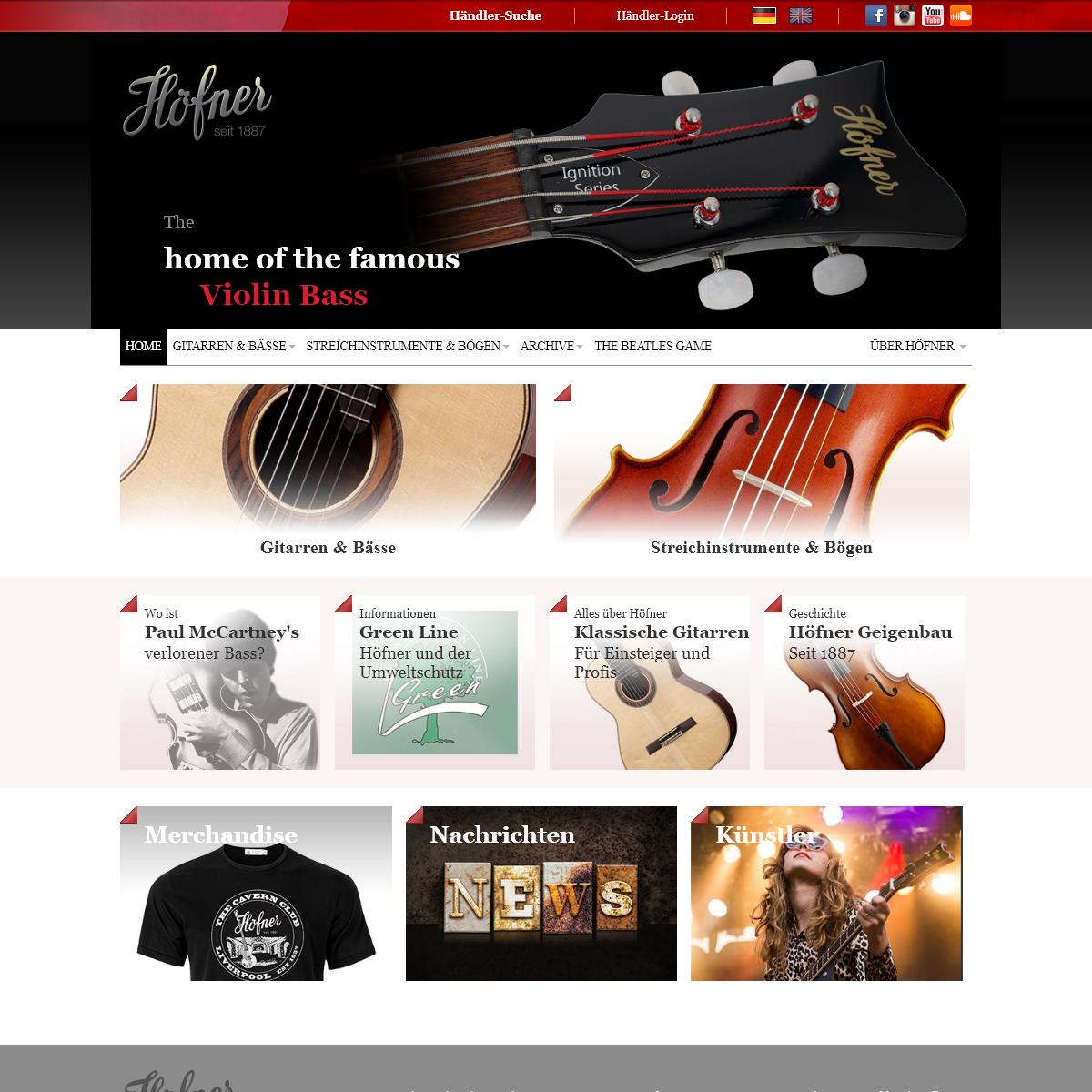 Höfner Gitarren & Bässe, Streichinstrumente & Bögen