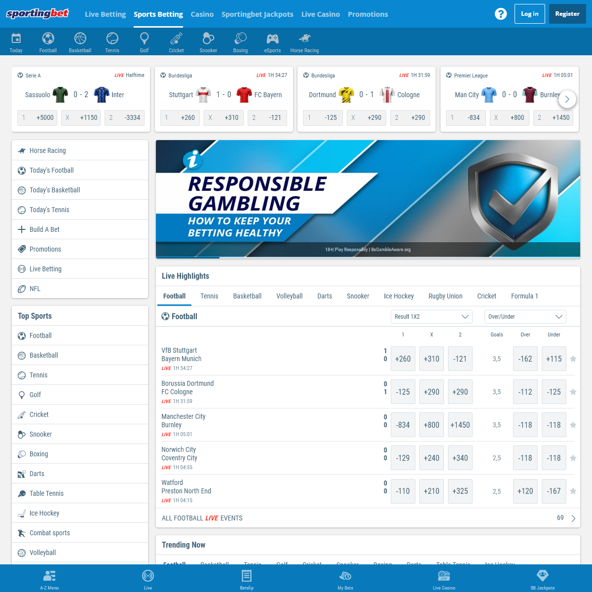 Sports Betting Odds - Bet on a Wide Range of Sports at Sportingbet - Sportingbet
