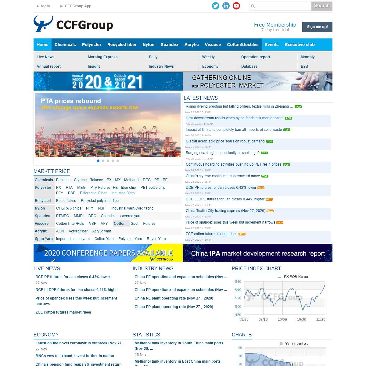 Chemical fiber & cotton textile market intelligence - CCFGroup