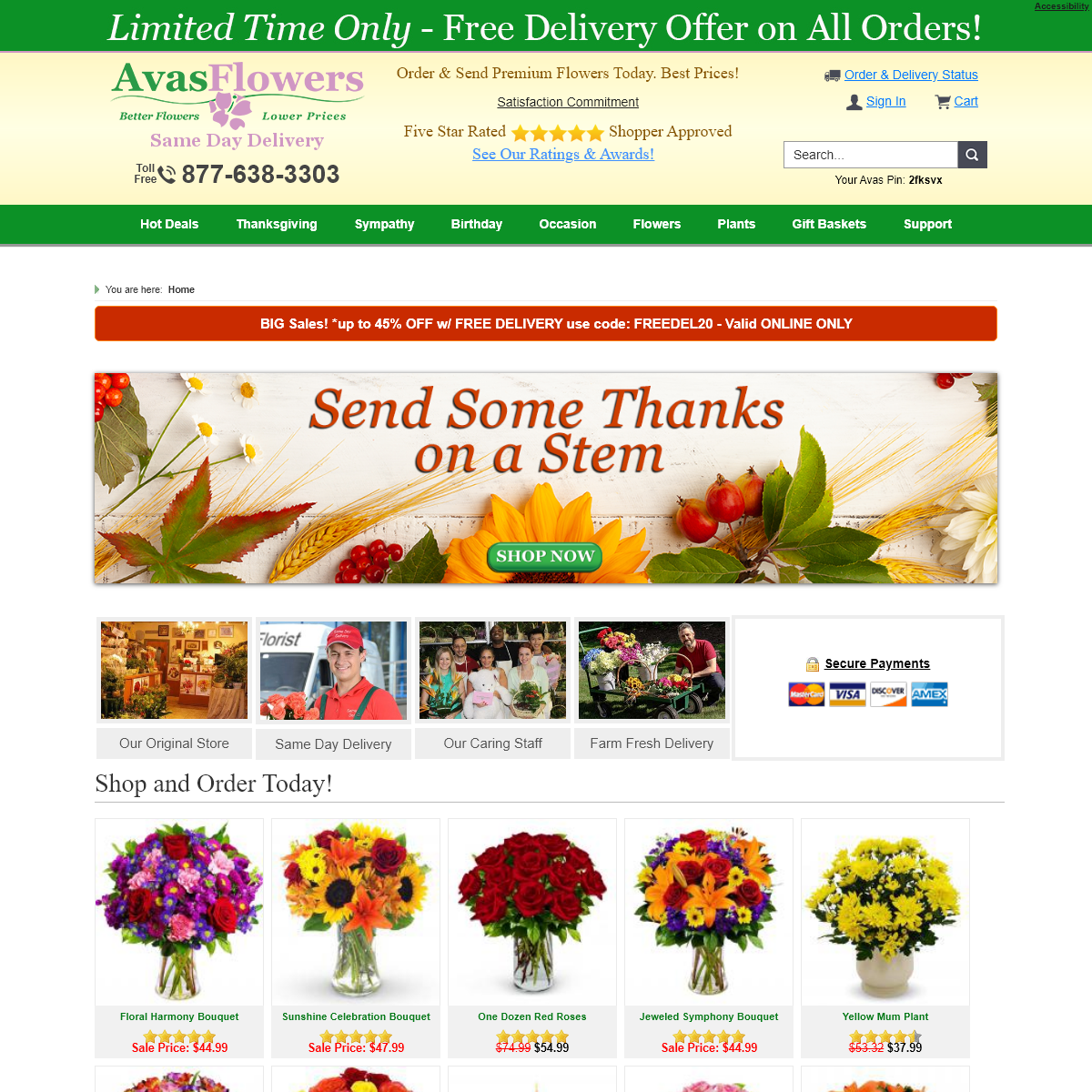 Flower Delivery Services - Send Flowers Online Nationwide - Avas Flowers